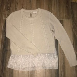 Cable Knit Sweater With Lace Underlay